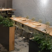 View of the cafe area at the St furniture, table, gray, black