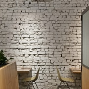 View of the cafe area at the St brick, brickwork, floor, home, interior design, stone wall, wall, gray, brown