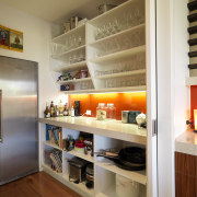 View of the scullery which features shelving, refrigeration, cabinetry, countertop, interior design, kitchen, real estate, shelf, shelving, brown