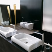 View of a bathroom which features Italian designed bathroom, furniture, interior design, plumbing fixture, product, product design, sink, tap, black, gray