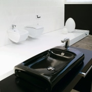 View of a bathroom which features Italian designed bathroom sink, plumbing fixture, product design, sink, tap, white, black