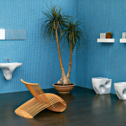 View of a bathroom which features Italian designed blue, ceramic, flowerpot, furniture, interior design, product design, still life photography, table, tap, teal
