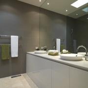 View of bathroom featuring vanity with CaesarStone tops, bathroom, ceiling, countertop, floor, interior design, kitchen, sink, gray