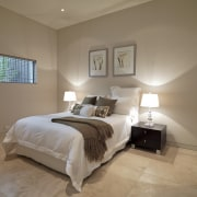 View of a bedroom which features travertine marble bed frame, bedroom, ceiling, estate, floor, home, interior design, property, real estate, room, wall, window, wood, brown