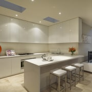 View of kitchen area featuring CaesarStone benchtops, recessed ceiling, countertop, interior design, kitchen, real estate, room, brown, orange