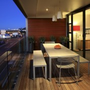 View of the deck with glass balustrade, decking, apartment, architecture, house, interior design, real estate, roof, brown, black