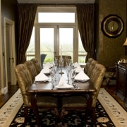View of dining area which features Victorian-styled dining dining room, furniture, home, interior design, living room, restaurant, room, table, window, brown, black