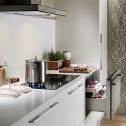 View of kitchen featuring appliances from Fisher & countertop, home, home appliance, interior design, kitchen, room, gray