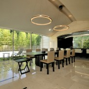 View of open-plan dining area which features black ceiling, house, interior design, property, real estate, roof, table, brown