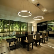 View of open-plan dining area which features black architecture, ceiling, interior design, lobby, restaurant, brown