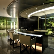 View of the kitchen with island with glass architecture, house, interior design, real estate, brown