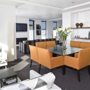 View of the open-plan dining and kitchen area apartment, interior design, living room, property, real estate, white