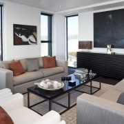 View of the large living area which features home, interior design, living room, penthouse apartment, property, real estate, room, suite, gray