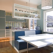 View of a kitchen which features blue cabinetry interior design, kitchen, window, gray, white