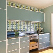 View of blue-painted kitchen cabinetry. - View of cabinetry, countertop, home, interior design, kitchen, room, wall, window, gray