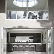 Exterior view of kitchen from the outdoor area interior design, product design, gray, white