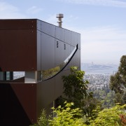 Exterior view of contemporary home with TRESPA siding, architecture, building, facade, house, sky, black, white