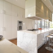 View of a modern kitchen in a classical countertop, cuisine classique, interior design, kitchen, real estate, gray
