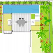 View of the landscape design plans. - View area, design, floor plan, flora, grass, green, leaf, line, pattern, plant, tree, white