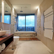View of en-suite which features a cantilevered vanity bathroom, estate, home, interior design, property, real estate, room, brown, orange