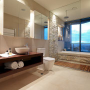 View of en-suite which features a cantilevered vanity architecture, bathroom, estate, home, interior design, real estate, room, brown