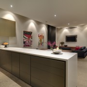 View of open-plan kitchen and dining area which countertop, interior design, kitchen, real estate, room, brown, gray