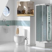 View of a newly renovated bathroom which features bathroom, bathroom accessory, bathroom cabinet, ceramic, floor, flooring, interior design, plumbing fixture, product, product design, tap, tile, white, gray