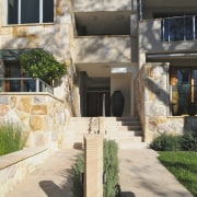 Exterior view of the Lindfield Apartments which were backyard, courtyard, estate, facade, home, house, property, real estate, residential area, window, white, black