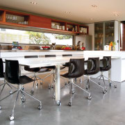 View of a cafe-styled kitchen designed by NKBA countertop, floor, flooring, furniture, interior design, kitchen, table, gray