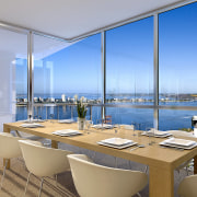 View of the Fairlanes Perth apartment dining area. apartment, condominium, interior design, penthouse apartment, real estate, window, gray