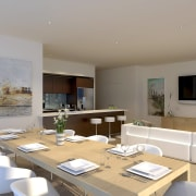 View of the Fairlanes Perth apartment dining area. house, interior design, living room, property, real estate, room, table, gray