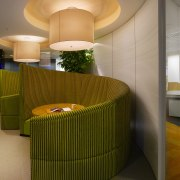 View of staff breakout areas which features brightly architecture, ceiling, furniture, interior design, lobby, table, brown