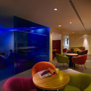 View of staff breakout areas which features brightly architecture, ceiling, interior design, lighting, lobby, room, brown, blue