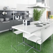 View of a kitchen manufactured by Schmidt kitchens angle, countertop, floor, furniture, interior design, kitchen, product, product design, table, white, green