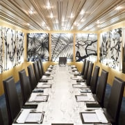 View of private function dining area of a ceiling, function hall, interior design, restaurant, white