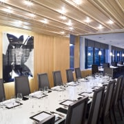 View of private function dining area of a conference hall, function hall, interior design, white