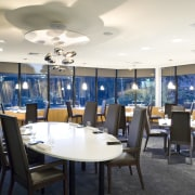 View of the main dining area of a dining room, interior design, restaurant, table, white