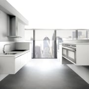 View of a modern kitchen which features appliances angle, architecture, floor, furniture, home appliance, interior design, kitchen, product, product design, tap, white