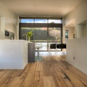 View of a minimal kitchen area which was architecture, floor, flooring, hardwood, house, interior design, laminate flooring, loft, real estate, wood, wood flooring, gray, brown