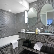 View of one of the ensuites which features architecture, bathroom, ceiling, daylighting, design, interior design, room, gray, black