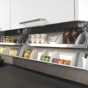 View of custom storage solutions available from Hettitch. furniture, product, product design, shelf, shelving, white, black