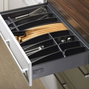 View of custom storage solutions available from Hettitch. drawer, furniture, product, product design, brown, black