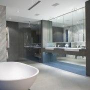 Contemporary bathroom with unique bathtub - Contemporary bathroom architecture, bathroom, interior design, gray, black