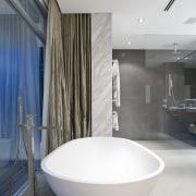 Contemporary bathroom with unique bathtub - Contemporary bathroom architecture, bathroom, floor, interior design, plumbing fixture, product design, tap, white, gray