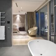 Contemporary bathroom with unique bathtub - Contemporary bathroom architecture, bathroom, ceiling, floor, interior design, room, gray