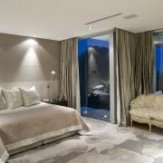Contemporary bathroom with unique bathtub - Contemporary bathroom bedroom, ceiling, interior design, property, real estate, room, suite, wall, window, gray