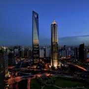 View of the Shanghai World Financial Centre in bird's eye view, building, city, cityscape, daytime, downtown, dusk, evening, horizon, landmark, metropolis, metropolitan area, night, sky, skyline, skyscraper, tourist attraction, tower, tower block, urban area, blue, black