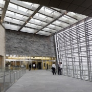 Interior view of the ground level featuring glazed architecture, building, ceiling, daylighting, structure, tourist attraction, gray