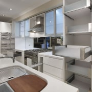 View of an Apollo Kitchens showroom which showcases cabinetry, countertop, interior design, kitchen, gray