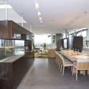 View of the dining area which is separated architecture, countertop, house, interior design, kitchen, real estate, gray